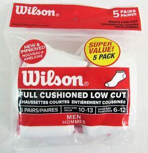 Wilson 5 Pack Men Athletic Moisture Wicking Low-cut Socks, Size 6-12