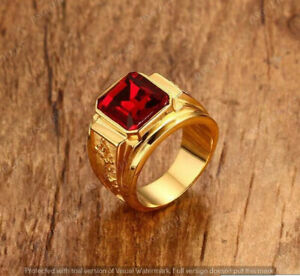 Men's 4 CT Radiant Red Ruby SolitaireVintage Art Pinky Ring 14K Yellow Gold Over