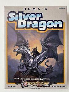 Ral Partha AD&D DragonLance Miniatures 10-503 Huma's Silver Dragon, Painted RARE