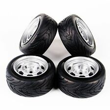 12mm Hex RC 1:10 Rubber Tire Wheel Rim 4Pcs For HSP HPI Flat Racing On Road Car