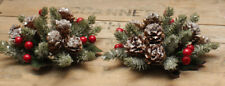 "2 pc - 1"" opening Red Christmas ICY Berry Candle Rings - Pinecones - Glitter"