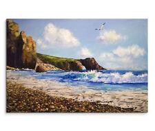 120x80cm Leinwandbild auf Keilrahmen Landschaft Meer Strand Möwe Ölgemälde