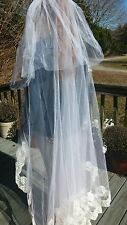 Vintage 1950s Wedding Veil Long Lace and Tull Wedding Antique Lace