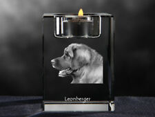Leonberger, crystal candlestick with dog, souvenir, Crystal Animals Ca