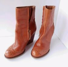 Tommy Hilfiger Brown Leather Ankle Wedge Boots size 4.5UK 5UK 37EUR