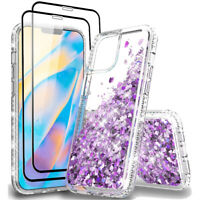 For iPhone 12/12 Pro/12 Pro Max  Quicksand Glitter TPU Case Cover+Tempered Glass