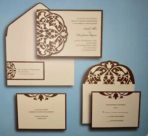 Wedding Invitation Brides Deluxe Kit 30 CT. Gartner Studios Brown Ivory Flourish