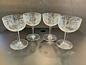 """Set of 4 Vintage Etched Crystal Glass Stemmed Claret Wine Glasses 4 1/2"""" tall"""