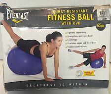 Fitness Ball 65cm Blue Everlast Anti-Burst includes training DVD Pre-owned