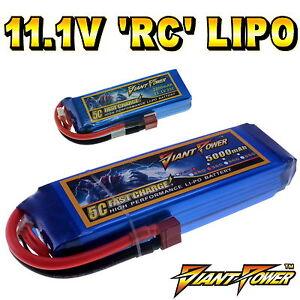 11.1V 350mAh - 5000mAh 3S RC LiPo Battery up to 65C All Sizes + Custom Connector
