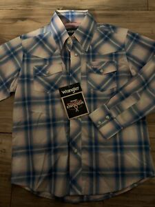 Wrangler Tough Enough To Wear Pink Boys Pearl Snap Up Shirt Size Small Nwt