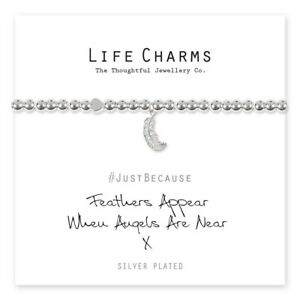 'Feathers Appear When Angels Are Near' Silver Plated Bracelet with Gift Box