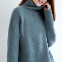 Women Cashmere Cardigan Tops High-Necked Sweater Long Sleeve Loose Coat top UK