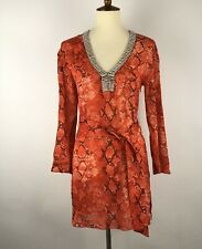 Royal Underground Women's Tunic Top XS Red Silk Stretch Snake Print Embellished