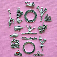 Deluxe Cheerleader Charm Collection Antique Silver Tone 16 Charms - COL243