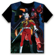 Anime GUNDAM THE ORIGIN Char T-shirt Short Sleeve Unisex Black TEE S-3XL#122