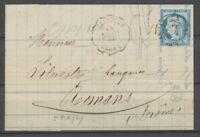 1876 Lettre N°60C, 25c. bleu Obl Convoyeur-Station Epinouze Ind.20 RARE. P1898