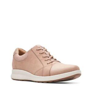 Clarks Ladies Un Adorn Lace Dusty Pink Nubuck Trainers UK Size 6 D EU 39.5