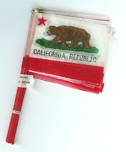 2 Packs of CALIFORNIA REPUBLIC STATE Miniature Bear Flags in Packages Unopened