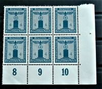 WW2 REAL NAZI 3rd REICH ERA GERMAN BLOCK OF 6 OFFICIAL STAMPS WITH MARG 4 rf