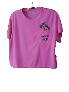 NWT Reel LegendsTalk To The Palm Women's Pink Tropical Palm Tree Crop Lg Tee