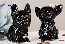 """Décoration, tirelire chien Chihuahua """"Comics"""" noir en céramique, H 12 cm"""