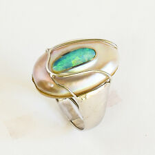 OPAL PEARL RING SOLID AUSTRALIAN OPAL MABE PEARL 925 STERLING SILVER SIZE Q NEW