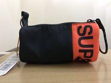 Superdry Kewer Two Zip Pencil Case - Navy/Fluro Orange BNWT