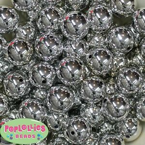 20mm Shiny silver Mirror Bubblegum Beads Lot 20 pc Chunky Jewelry Necklace