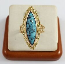 Beautiful 18K Karat Solid Two Tone Gold Ring With Turquoise - Nice!
