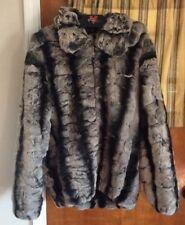 Daeho Fur Coat 3XL With Hood Gray Light Brown Black Modern Gift