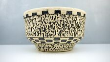 Mid Century Danish Modern HEKLA Pottery Black White LAVA Bowl Holland Geometric