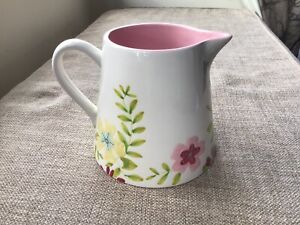 Bohemia Pottery White Floral Jug / Pitcher Pink Inside Never Displayed