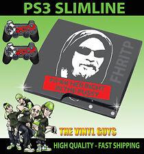 Playstation Ps3 Slim fhritp f@*k su derecho en la 001 etiqueta engomada de la piel y 2 Pad Skins