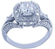 18K WHITE GOLD CUSHION CUT DIAMOND ENGAGEMENT RING ANTIQUE 1.56CTW H-VS2 EGL USA