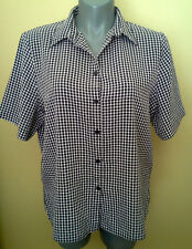 Ladies Womens Button Up Collar Shirt Blouse Top S/Sleeve Check Millers Size 20