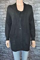Women's Black Long Over-sized V-Neck Cardigan Shrug Jacket Wrap Uk Size 10
