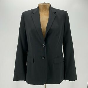 Banana Republic Womens Black Long Sleeve Notch Collared 2 Button Blazer Size 6P