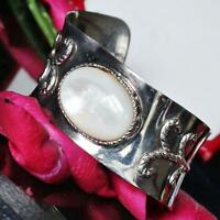 "925 sterling silver 7.0"" mother of pearl cuff bangle bracelet vintage 43gr N2577"