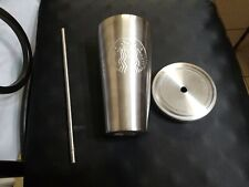 Starbucks Stainless Steel Siren Logo Silver Cold Tumbler With Metal Straw 16oz