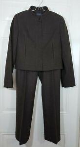ANN TAYLOR PANT SUIT Blazer Jacket Career Stretch Wool Brown 2P Petite Inseam 28