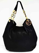 MICHAEL KORS FULTON Black Leather Shoulder Tote Bag Msrp $398.00