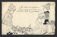 Handmade hand drawn / ink - WWI children making paper hats, upset mother 1919