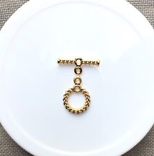 Toggle/Clasp, Gold-Plated Brass, 10mm Textured Woven Round. 5 sets per pack.