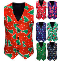 Men's Dress Suit Vest Christmas Blazer Wedding Tuxedo Waistcoat Jacket Coat Tops