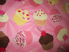 CUP CAKES CUPCAKES PINK DESSERTS COTTON FABRIC BTHY