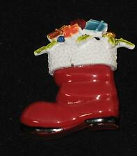 "Vintage ""ART"" Christmas Red Enameled Brooch Pin Signed Rhinestones Boot Retro"