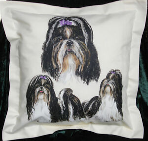 Hand crafted Shih Tzu dogs cushion cover