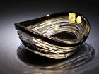 Caesar Crystal Bowl Black Cut to Clear Cased Overlay Czech Bohemian Art Glass