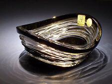 Caesar Crystal Bowl Black Cut to Clear Cased Overlay Czech Bohemian Art Glass
